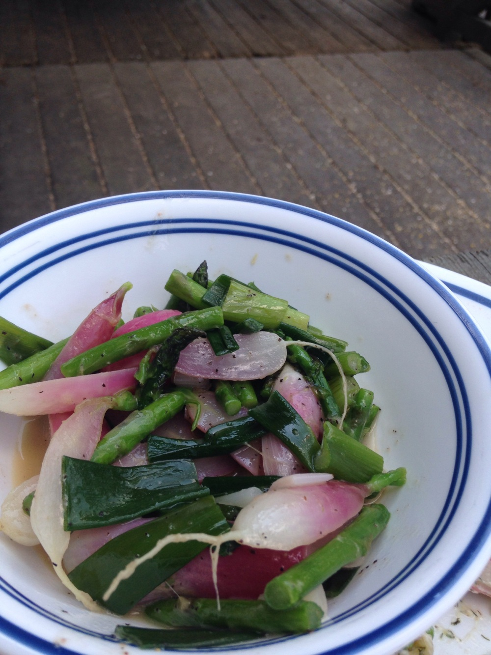Butter braised french breakfast radish, asparagus & scallion