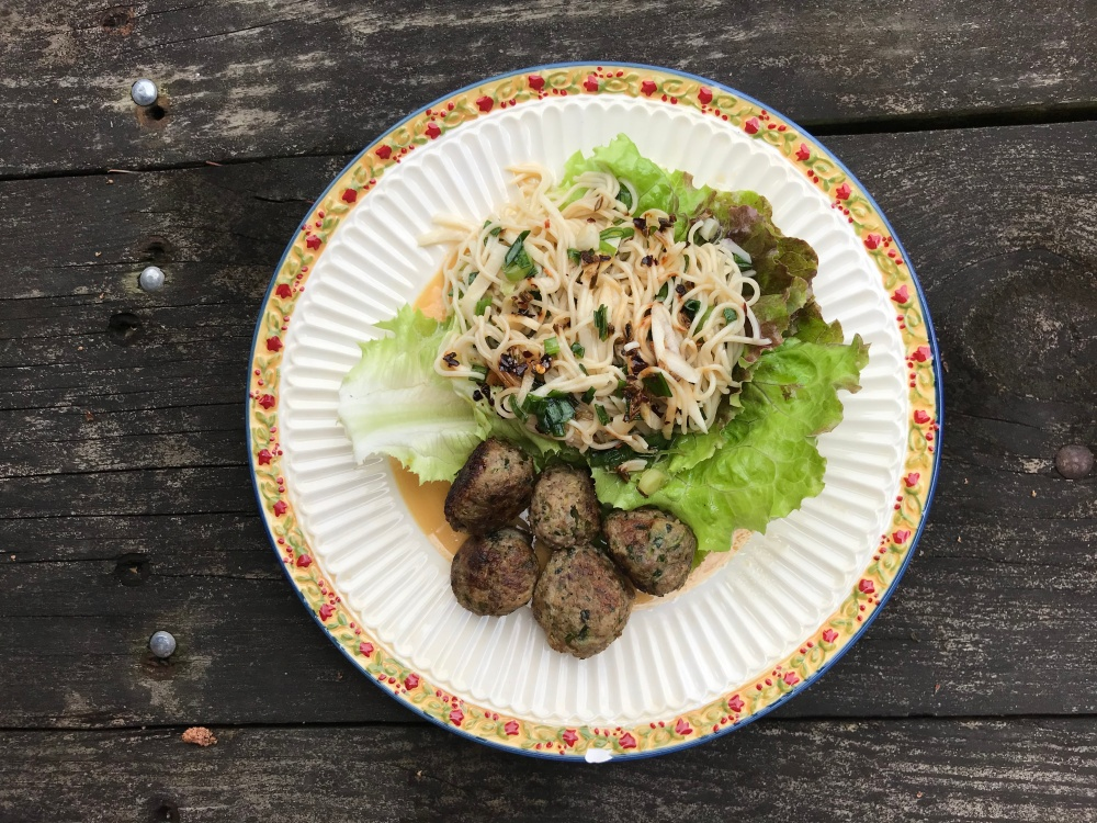 CSA3- Noodle Lettuce Wraps with Pork Meatballs & Crunchy Garlic Chile OIl